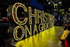 Decoración de la Navidad en el camino de la huerta de Singapur Fotos de archivo libres de regalías