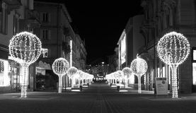 Decoración de la Navidad en el centro de Bellinzona fotografía de archivo