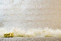 Decoración de la Navidad en el fondo de plata del brillo Fotografía de archivo libre de regalías