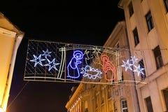 Decoración de la Navidad en la ciudad de Zagreb Imagenes de archivo
