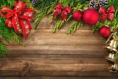 Decoración de la Navidad en la madera Fotografía de archivo