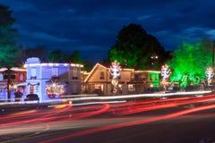 Decoración de la Navidad en la noche Gramado imagen de archivo libre de regalías
