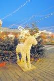 Decoración de la Navidad en la Plaza Roja en Moscú Foto de archivo