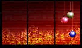 Decoración de la Navidad en la ventana ilustración del vector