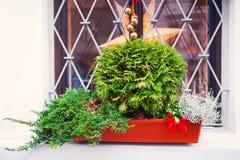 Decoración de la Navidad en la ventana Imagen de archivo libre de regalías