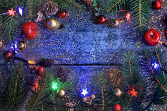 Decoración de la Navidad en luz azul Fotografía de archivo libre de regalías