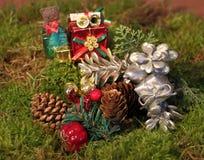 Decoración de la Navidad en musgo Foto de archivo