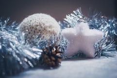 Decoración de la Navidad en plata imagen de archivo libre de regalías