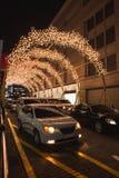 Decoración de la Navidad en una calle de la ciudad Fotografía de archivo libre de regalías