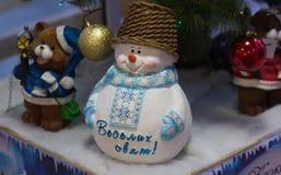 Decoración de la Navidad, Feliz Año Nuevo del muñeco de nieve Foto de archivo libre de regalías