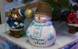 Decoración de la Navidad, Feliz Año Nuevo del muñeco de nieve Fotografía de archivo libre de regalías