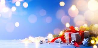 Decoración de la Navidad Fondo de la tarjeta de Navidad del saludo Fotografía de archivo