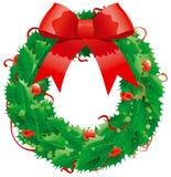 Decoración de la Navidad - guirnalda del acebo Foto de archivo