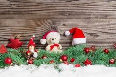 Decoración de la Navidad, la Navidad Teddy Bear, Imp Foto de archivo libre de regalías