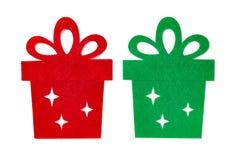 Decoración de la Navidad de las cajas de regalo planas rojas y verdes fotos de archivo libres de regalías