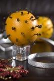 Decoración de la Navidad - naranja con cinamomo Fotos de archivo