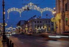 Decoración de la Navidad de la perspectiva de Nevsky en St Petersburg Imagen de archivo