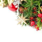 Decoración de la Navidad, ramita del árbol de Navidad, estrella de oro Fotografía de archivo