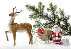 Decoración de la Navidad, Santa Claus con el trineo Fotos de archivo libres de regalías