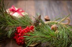 Decoración de la Navidad y del Año Nuevo con la rama del pino Fotografía de archivo libre de regalías