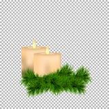Decoración de la Navidad y del Año Nuevo con las velas y la ramita spruce aisladas en fondo transparente Fotos de archivo libres de regalías