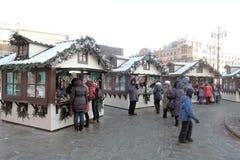 Decoración de la Navidad y del Año Nuevo en centro de ciudad de Moscú Imágenes de archivo libres de regalías