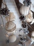 Decoración de la Navidad y del Año Nuevo en el fondo blanco Imágenes de archivo libres de regalías