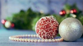 Decoración de la Navidad y del Año Nuevo Fondo borroso extracto del día de fiesta de Bokeh almacen de video