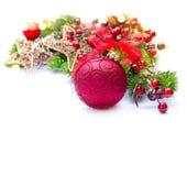 Decoración de la Navidad y del Año Nuevo sobre blanco Imágenes de archivo libres de regalías