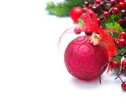 Decoración de la Navidad y del Año Nuevo sobre blanco Imagen de archivo libre de regalías