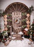 Decoración de la Navidad y del Año Nuevo sobre vintage de madera del fondo Fotografía de archivo libre de regalías