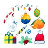 Decoración de la Navidad y del Año Nuevo y sistema del humor Foto de archivo libre de regalías
