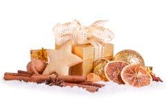 Decoración de la Navidad y galletas de la Navidad Foto de archivo