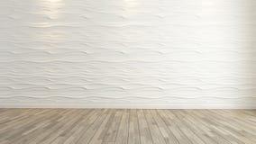 Decoración de la pared de la onda con la representación de madera del piso Fotografía de archivo
