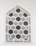Decoración de la pared del Islam con la ventana foto de archivo