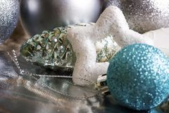 Decoración de la plata del Año Nuevo Imagen de archivo libre de regalías