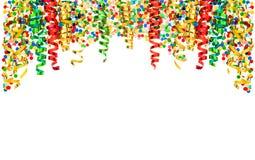 Decoración de la serpentina del partido del carnaval de los días de fiesta del confeti de la flámula Imagenes de archivo