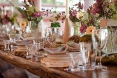 Decoración de la tabla de la boda Foto de archivo libre de regalías