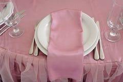 Decoración de la tabla de la boda Sistema hermoso para un partido o una recepción del evento Fotos de archivo