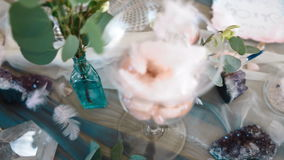 Decoración de la tabla de la boda almacen de video