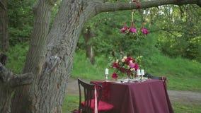 Decoración de la tabla de la boda en la naturaleza almacen de metraje de vídeo
