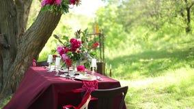 Decoración de la tabla de la boda en la naturaleza almacen de video