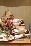 Decoración de la tabla de la Navidad o de cena del Año Nuevo Imagen de archivo