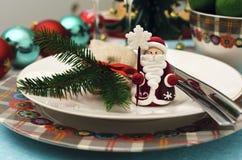 Decoración de la tabla del Año Nuevo de la American National Standard de la Navidad Fotografía de archivo libre de regalías