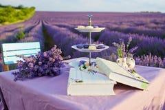 Decoración de la tabla en flores de la lavanda Imagen de archivo