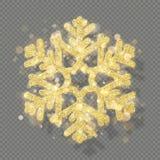 Decoración de la textura de Rich Christmas con el bokeh de oro del brillo Copo de nieve del brillo aislado en fondo transparente  ilustración del vector