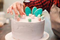 Decoración de la torta hecha en casa Masterclass culinarios Imagenes de archivo