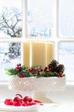 Decoración de la vela de la Navidad Foto de archivo