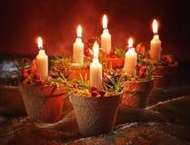 Decoración de la vela de la Navidad Imagenes de archivo