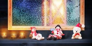 Decoración de la ventana de la Navidad Imagen de archivo